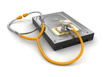 Stethoscope and Hard Drive (clipping path included) Stock Photo