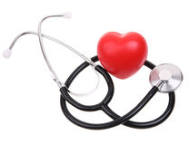 Stethoscope with heart. Heart and stethoscope isolated on white with clipping path Royalty Free Stock Images