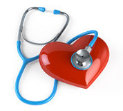 Stethoscope and heart. On white background Royalty Free Stock Photo