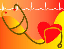 Stethoscope and heart. Concept illustration with wave-form indicating medical readings Royalty Free Stock Photography