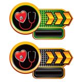 Stethoscope on heart on arrow banners Stock Image