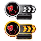 Stethoscope on heart on arrow nameplates Royalty Free Stock Images