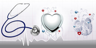 Stethoscope and the heart  background Royalty Free Stock Photos