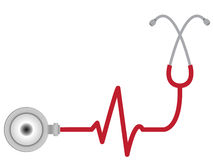 Stethoscope with heart beat stock illustration