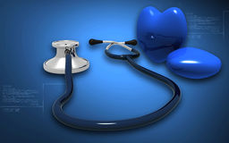 Stethoscope and heart Royalty Free Stock Photo