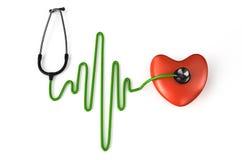 Stethoscope, heart and ECG. Isolated on white background stock illustration