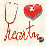 Stethoscope and heart on graph paper Royalty Free Stock Image