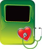 Stethoscope on heart on green halftone banner Stock Photos
