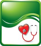 Stethoscope on heart on green wave background Royalty Free Stock Image