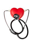 Stethoscope on heart and listening. Listen to the pulse carefully Stock Photography