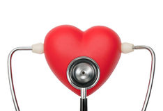 Stethoscope on heart listening pulse Stock Images