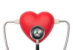 Stethoscope on heart listening pulse Stock Images