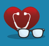 Stethoscope heart medical equipment Stock Image