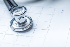 Stethoscope on a heart monitor printout.Electrocardiogram chart and stethoscope.  Royalty Free Stock Image