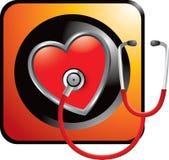 Stethoscope on heart on orange web button Stock Photos
