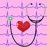 Stethoscope and heart on a pink background and ECG.  Stock Photography