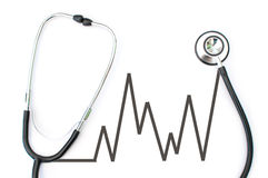 Stethoscope and heart pulse Royalty Free Stock Photos