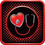 Stethoscope on heart in red halftone web button Royalty Free Stock Photography