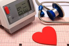 Stethoscope, heart shape, blood pressure monitor on electrocardiogram Stock Photography