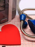 Stethoscope, heart shape, blood pressure monitor on electrocardiogram Royalty Free Stock Photos