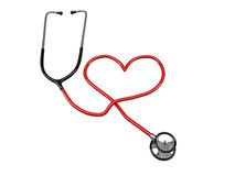 Stethoscope heart silhouette. Isolated on white background Royalty Free Stock Photos