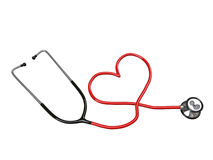 Stethoscope heart silhouette. Isolated on white background Stock Photography