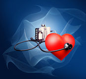 Stethoscope on the heart. Royalty Free Stock Photography