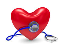 Stethoscope and heart on white background Stock Images