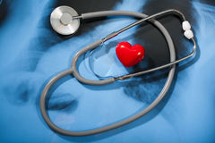 Stethoscope and heart on X-ray Stock Photos