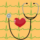 Stethoscope and heart on a yellow Royalty Free Stock Images
