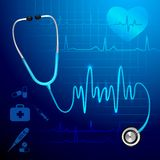 Stethoscope heartbeat background Royalty Free Stock Photo