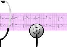 Stethoscope on heartbeat graph Stock Photos