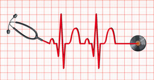 Stethoscope and heartbeats on graph paper Stock Photography