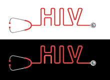 Stethoscope HIV type. 3D render of stethoscope tubing forming HIV text Stock Image