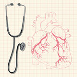 Stethoscope and human heart Stock Photography