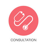 Stethoscope icon in flat style. Medical concept. Stethoscope icon drawn in flat style. Label concept of medicine consultation. Simple round logo for button Stock Photography
