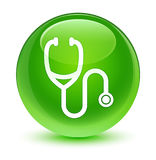 Stethoscope icon glassy green round button Stock Photography