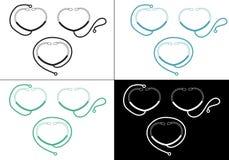 Stethoscope icon and logo Royalty Free Stock Image
