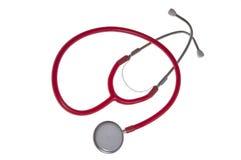 Stethoscope, isolated. Red stethoscope, isolated on white stock photos