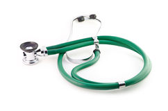 Stethoscope. Isolated green stethoscope on a white background Royalty Free Stock Images