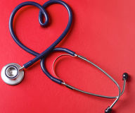 Stethoscope isolated on red background. Stock Photography