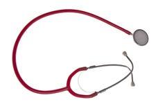 Stethoscope, isolated on white. Red stethoscope isolated on white background stock photography
