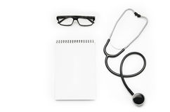 Stethoscope isolated on white background. Top view photograph Stock Image