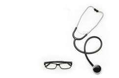 Stethoscope isolated on white background. Top view photograph Royalty Free Stock Photo