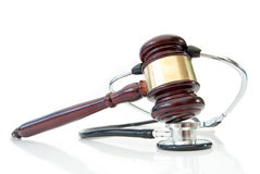 Stethoscope and judges gavel Royalty Free Stock Image