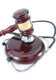 Stethoscope and judges gavel Stock Image