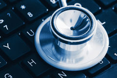 Stethoscope on a keyboard Stock Photo