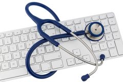 Stethoscope and keyboard of a computer Stock Photo