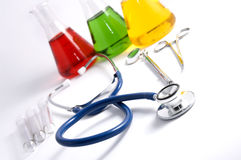 Stethoscope and lab equipment Stock Image