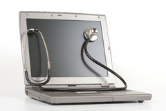 Stethoscope on a laptop Royalty Free Stock Photo